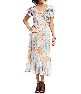 Reba Scoop Neck Ruffled Sleeve Popover Printed Mesh A-Line Dress