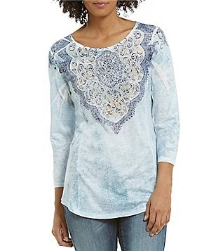 Reba Embellished Printed Knit 3/4 Sleeve Top