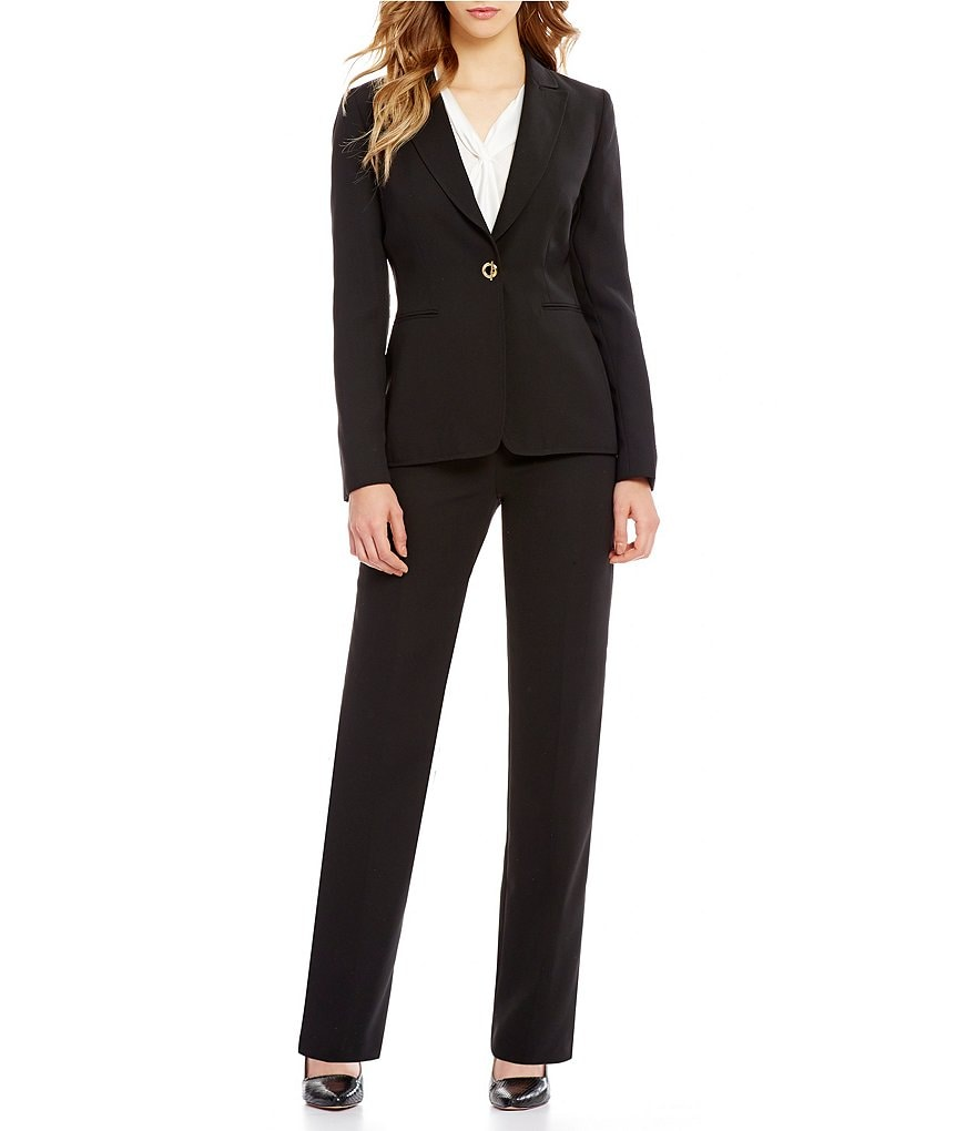 Tahari ASL Bi-Stretch Toggle-Clasp Pant Suit