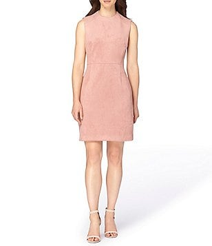 Tahari ASL Scuba Faux-Suede Sleeveless Sheath Dress