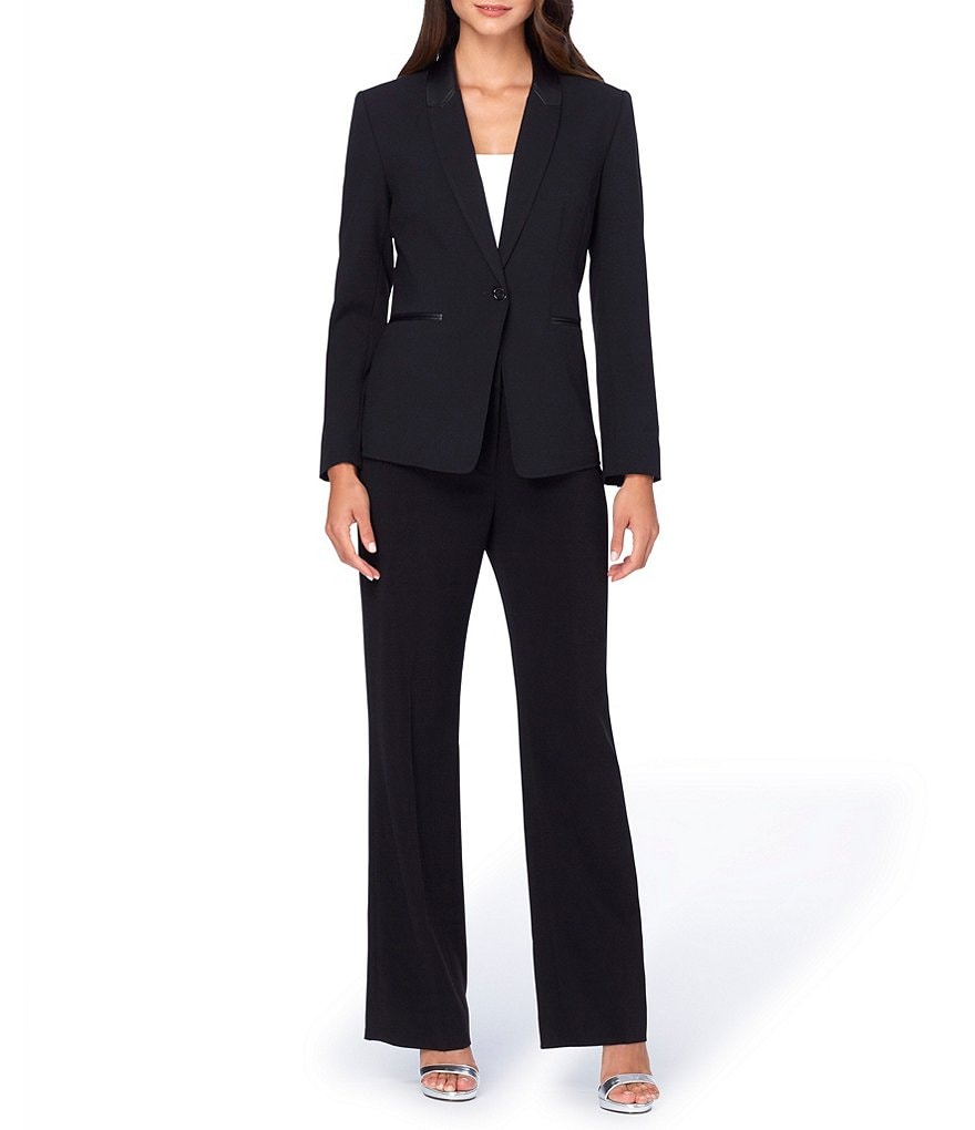 Tahari ASL Long-Sleeve Faux-Leather Collar Pant Suit
