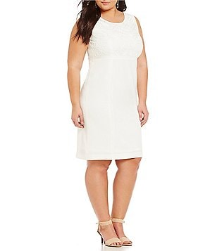 Kasper Plus Stretch Crepe Embroidered Sheath Dress