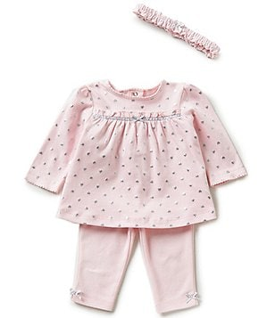 Little Me Baby Girls 3-12 Months Foiled Hearts Tunic & Solid Pants Set