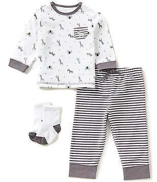 Little Me Baby Boys 3-12 Months Safari-Printed Tee & Striped Jogger Pants Set