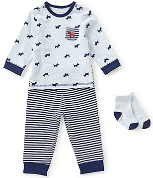 Little Me Baby Boys 3-12 Months Puppy-Print Tee and Striped Jogger Pants Set