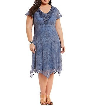 Reba Plus V-Neck Flutter Sleeve Washed Lace Dress