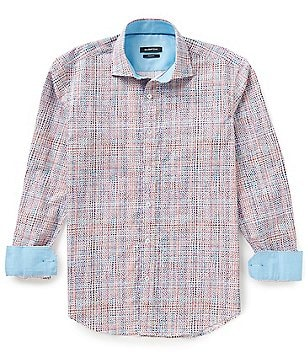 Bugatchi Shaped-Fit Multi Print Long-Sleeve Woven Shirt