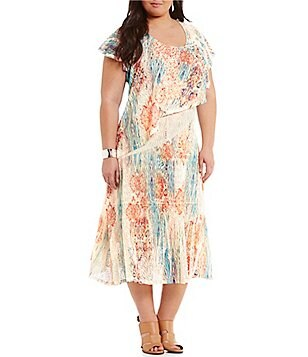 Reba Plus Scoop Neck Flutter Sleeve Printed Popover Dress
