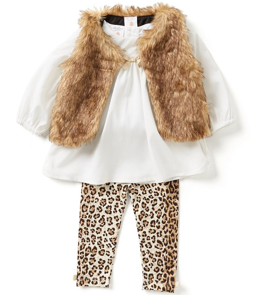 Starting Out Baby Girls 3-24 Months 3-Piece Faux-Fur Vest, Top, and Leggings Set