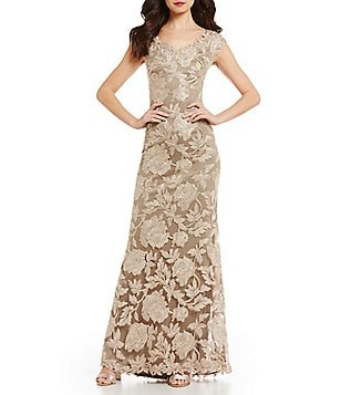 Tadashi Shoji Off-the-Shoulder Lace Mermaid Gown