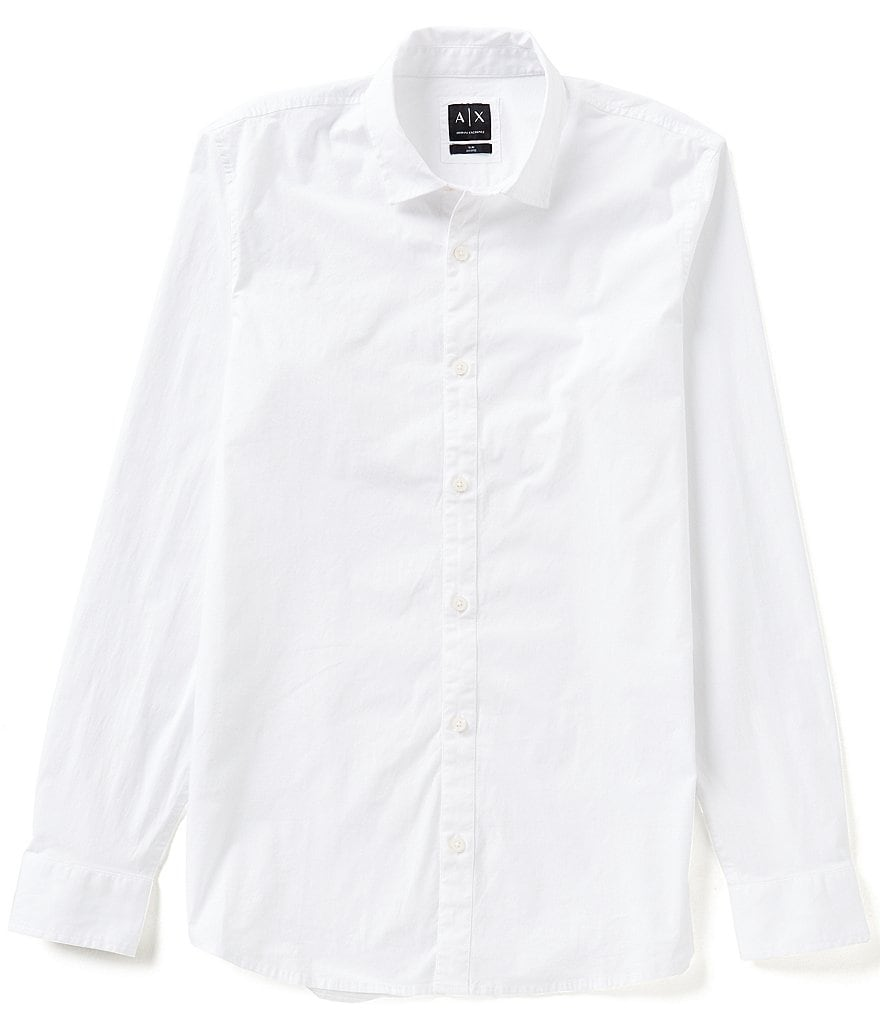 Armani Exchange Slim-Fit Long-Sleeve Solid Woven Shirt