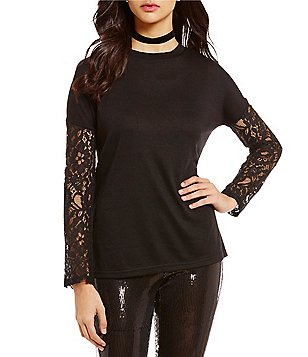 BB Dakota Juleen Knit Lace Long Sleeve Top