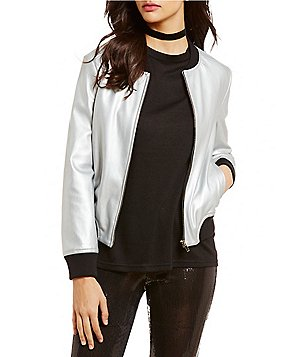 BB Dakota Alastair Metallic Ribbed Bomber Jacket