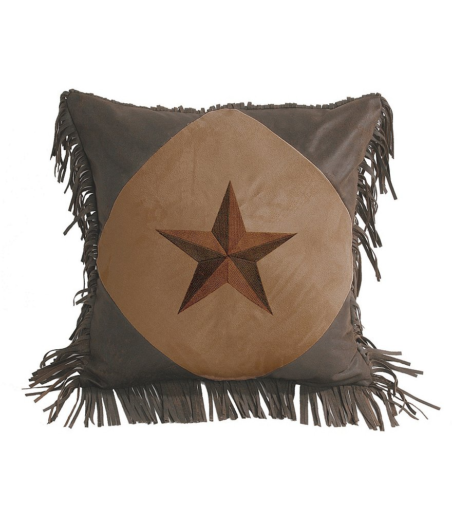HiEnd Accents Star Ranch Embroidered Star Fringe Pillow