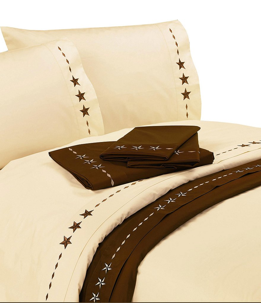 HiEnd Accents Star Ranch Embroidered Cotton Sheet Set