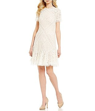 Tadashi Shoji High V-Neck Short Sleeve Illusion Lace Fit-and-Flare Dress