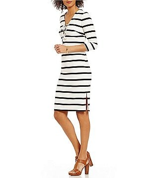 Eliza J Lace-Up Neck 3/4 Sleeve Striped Midi Sheath Dress