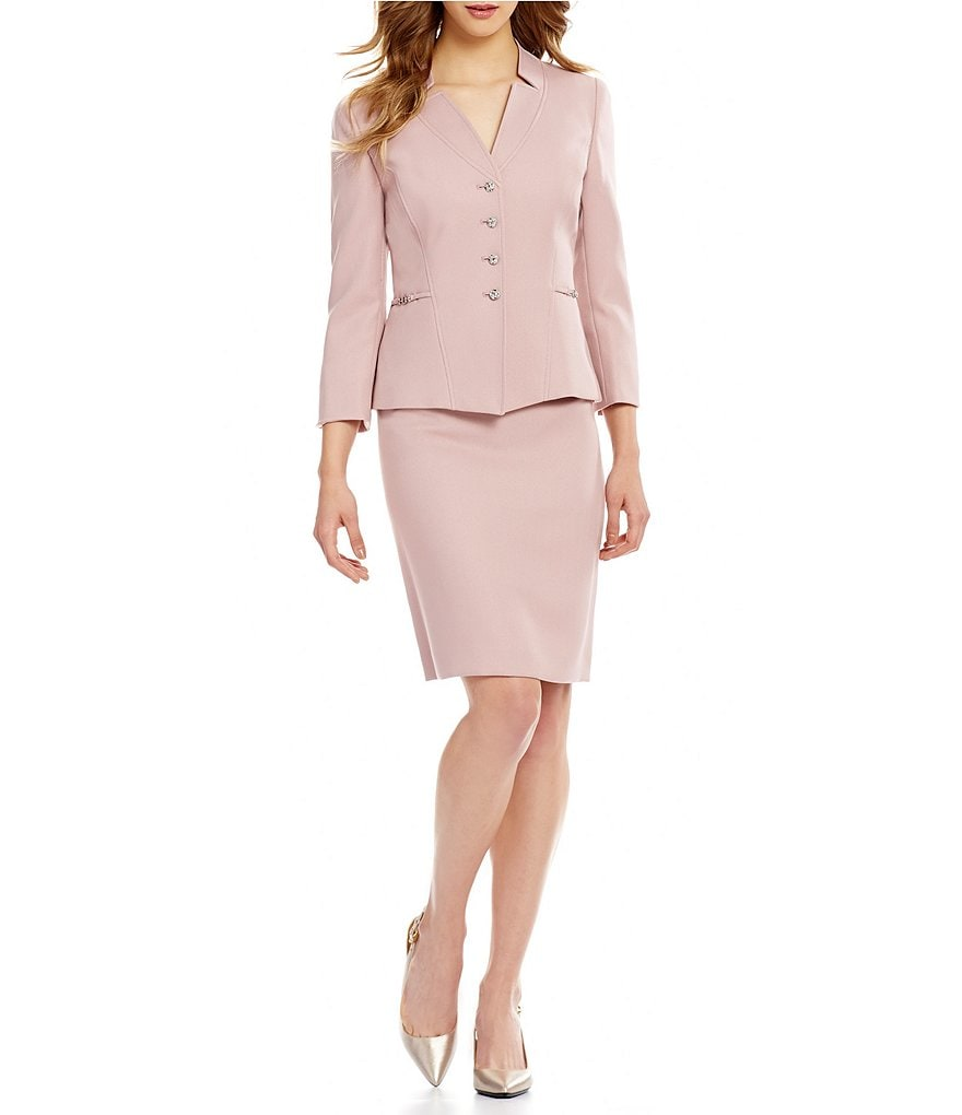 Tahari ASL Starneck Button-Front Skirt Suit