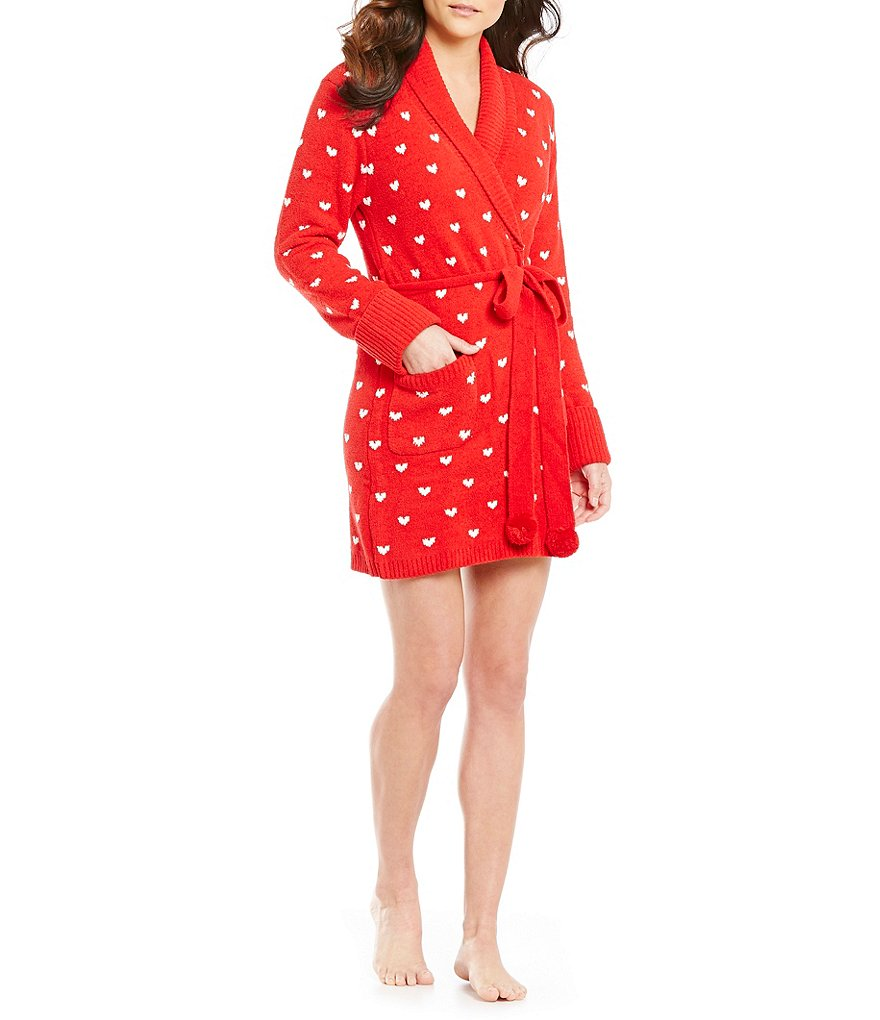 Betsey Johnson Heart Cozy Sweater-Knit Wrap Robe