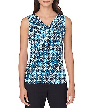 Tahari ASL Knit Jersey Printed Cowl Neck Top