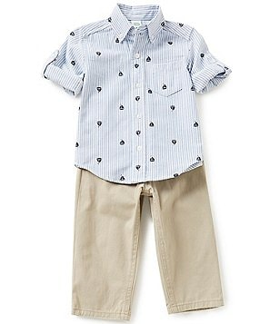 Little Me Baby Boys 12-24 Months Sailboat-Accented Striped Shirt and Solid Pants Set