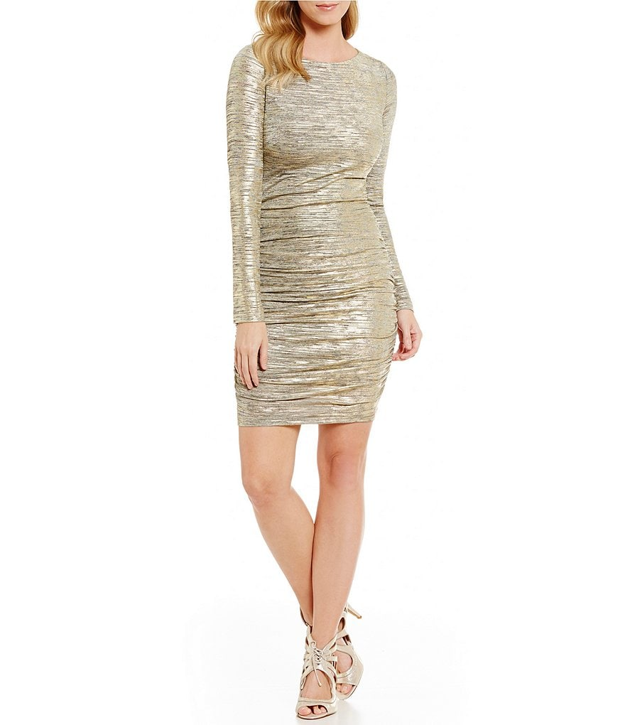 Vince Camuto Boat Neck Long Sleeve Ruched Metallic Dress
