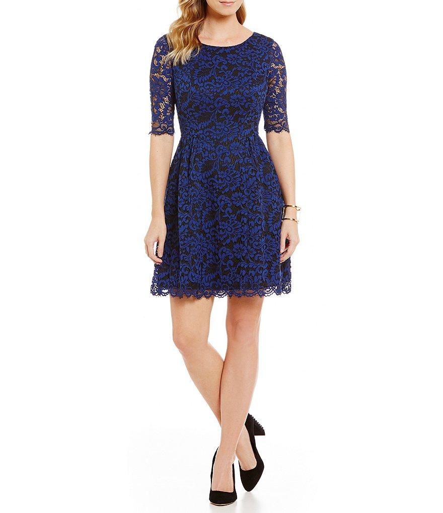 Vince Camuto Elbow-Sleeve Lace Dress