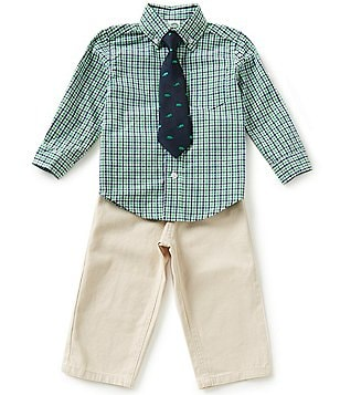 Little Me Baby Boys 12-24 Months Plaid Shirt and Solid Pants Set