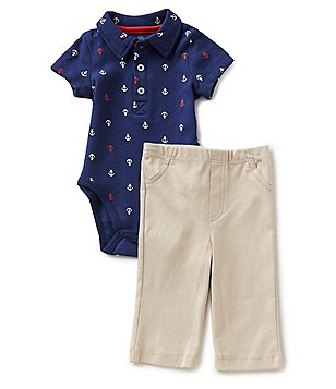 Little Me Baby Boys 3-12 Months Anchor-Print Bodysuit and Solid Pants Set
