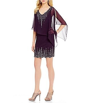 Jkara Beaded Chiffon Popover V-Neck 3/4 Sleeve Sheath Dress