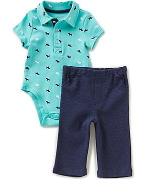 Little Me Baby Boys 3-12 Months Puppy-Print Bodysuit and Solid Pants Set