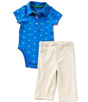 Little Me Baby Boys 3-12 Months Whale-Print Bodysuit and Solid Pants Set
