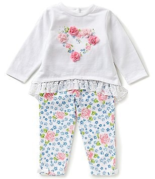 Little Me Baby Girls 12-24 Months Heart-Graphic Tee and Floral-Print Pants