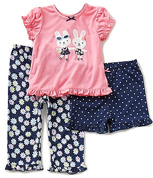 Little Me Baby Girls 12-24 Months Bunny Pajama Tee, Floral-Pajama Pants, and Dot-Printed Shorts Set