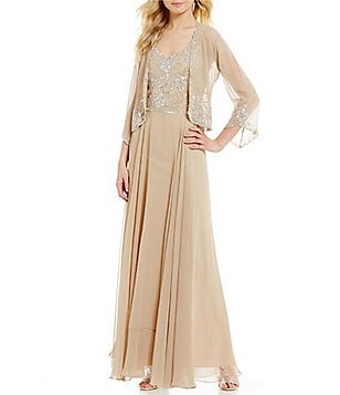 JKara V-Neck 3/4 Sleeve Beaded Chiffon Jacket Dress