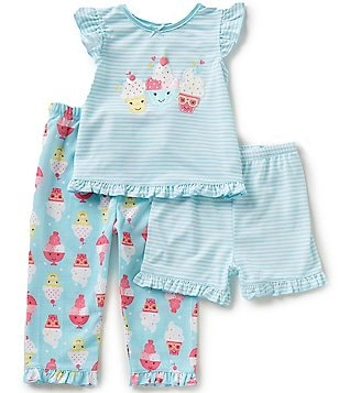 Little Me Baby Girls 3-12 Months Ice Cream Pajama Top, Ice Cream Pajama Pants, & Striped Shorts Set