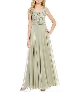 JKara Beaded Scoop Neck Cap Sleeve A-Line Chiffon Gown