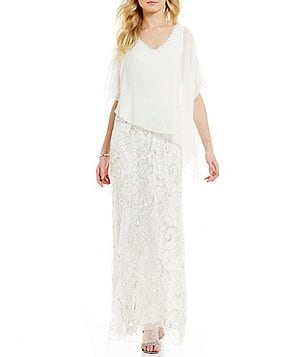 JKara Chiffon V-Neck Cap Sleeve Pop-Over Beaded Gown