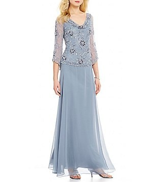 JKara Cowl Neck Sequin Bodice Cowl Neck 3/4 Sleeve Gown