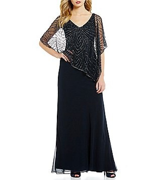 JKara Beaded V-Neck Cap Sleeve Popover Chiffon Gown