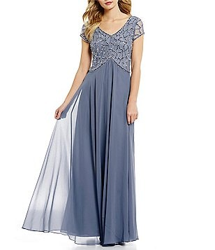 JKara V-Neck Short Sleeve Beaded Chiffon Gown