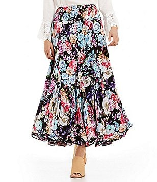 Calessa Floral A-line Maxi Skirt