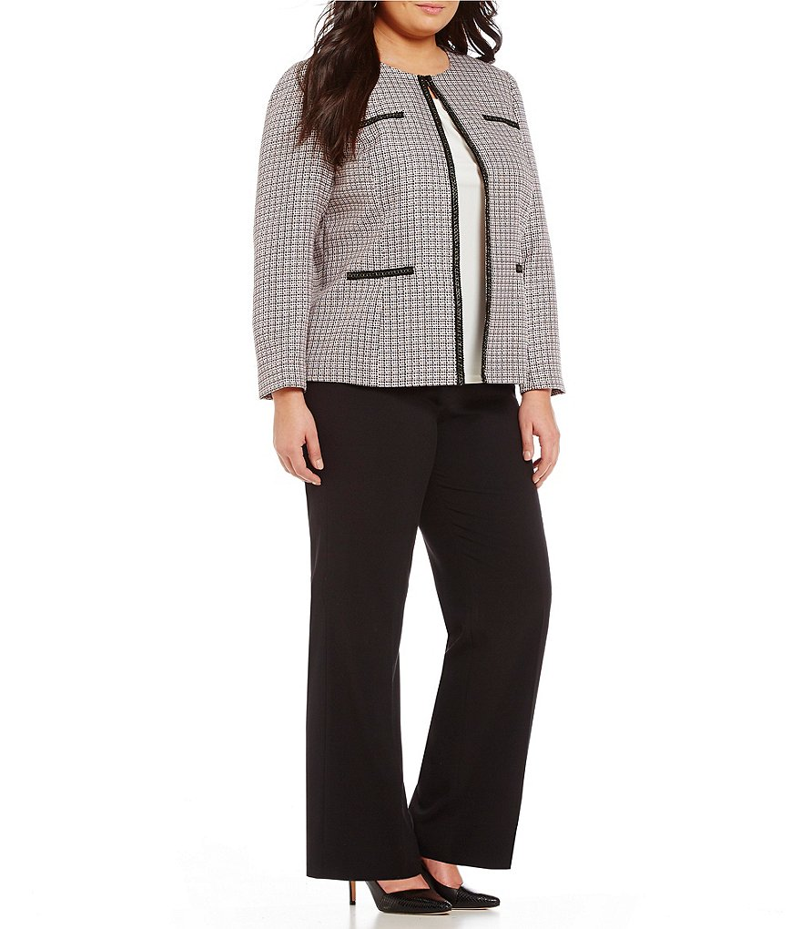Tahari ASL Plus Tweed Open-Front Pant Suit