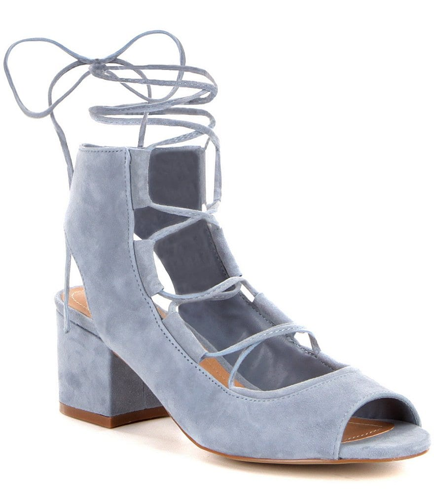 Steve Madden Admire Kid Suede Lace Up Block Heel Shooties