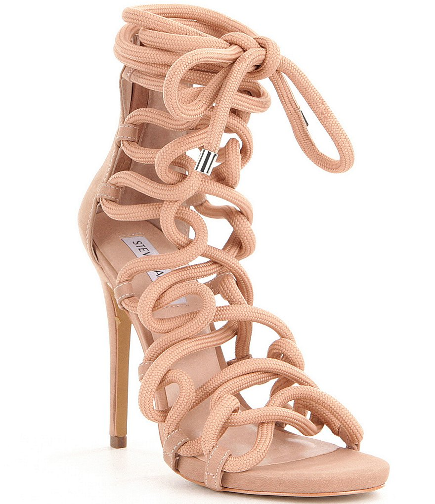 Steve Madden Dancin Back Zip Bungee Inspired Lace-Up High Heel Dress Sandals