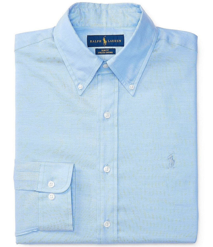 Polo Ralph Lauren Slim-Fit Button-Down Collar Solid Stretch-Oxford Dress Shirt