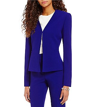 Preston & York Phoebe V-Neck Solid Textured Crepe Suiting Jacket