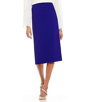 Preston & York Taylor Solid Crepe Midi Pencil Skirt