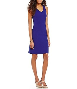 Preston & York Valentina V-Neck Sleeveless Solid Crepe Sheath Dress