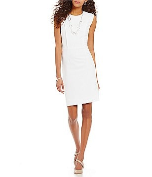 Preston & York Bianca Round Neck Sleeveless Solid Crepe Sheath Dress